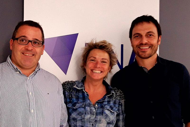 BIOBIO presenta els seus plats d'estiu a BECARIS, RTVA. Jordi Planes /xef executiu de Bio Bio Restrauració), Gemma Riu (CEO del grup Bomosa); Daniel Bassas (responsable de Bio Bio Restauració)