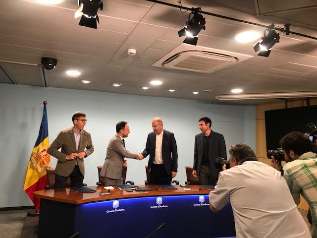 Ministre d'Afers Socials, Justícia i Interior del Govern d'Andorra, Xavier Espot i Turi Mora durant l'acte de signatura del conveni.